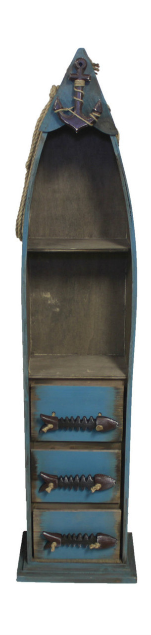 """(BC-07) 48"""" Dark Blue Wooden Boat Shelf with 3 Drawers, 2 Shelves, Rope, and Fish Bone Accents - Front View"""