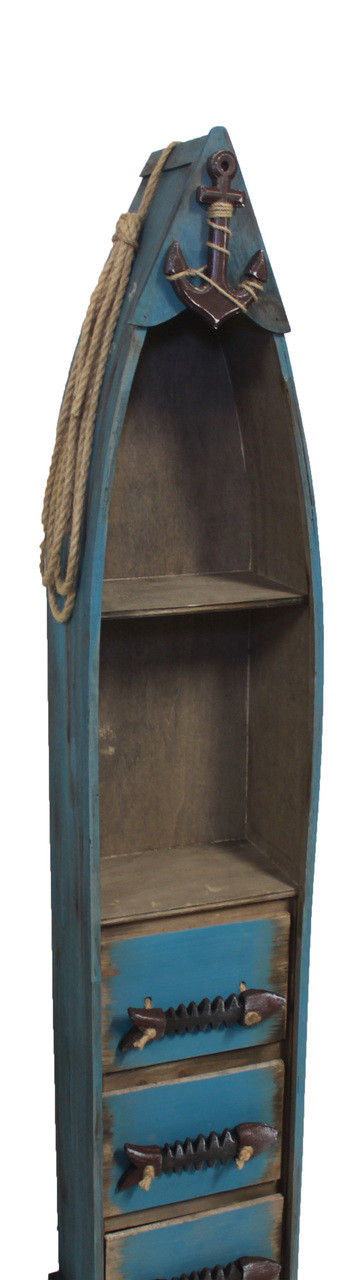 """(BC-07) 48"""" Dark Blue Wooden Boat Shelf with 3 Drawers, 2 Shelves, Rope, and Fish Bone Accents - Side View 1"""