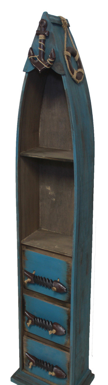 """(BC-07) 48"""" Dark Blue Wooden Boat Shelf with 3 Drawers, 2 Shelves, Rope, and Fish Bone Accents - Side View 2"""