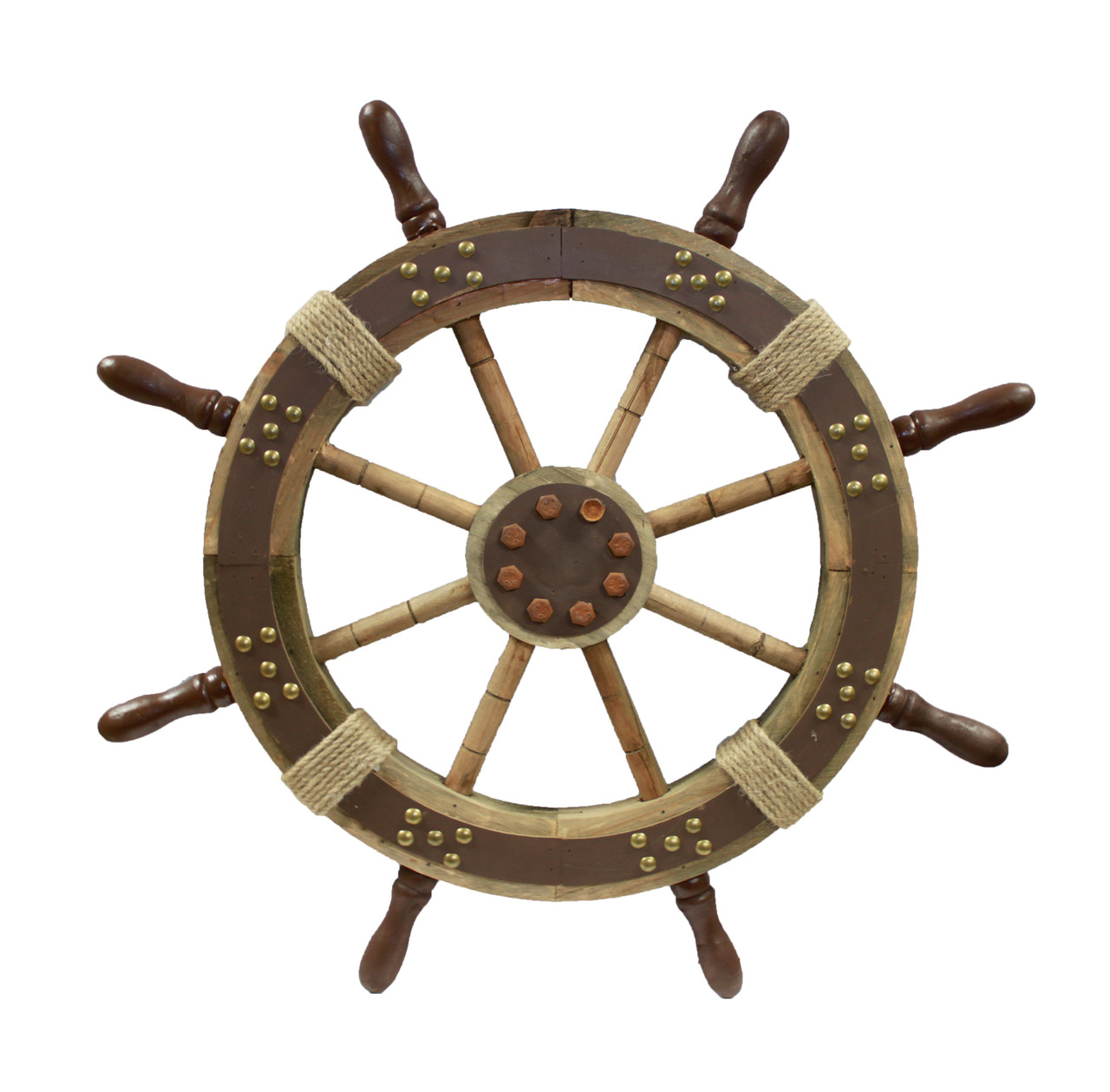 """Decorative Wooden Ship Wheel with Studs - 24"""""""