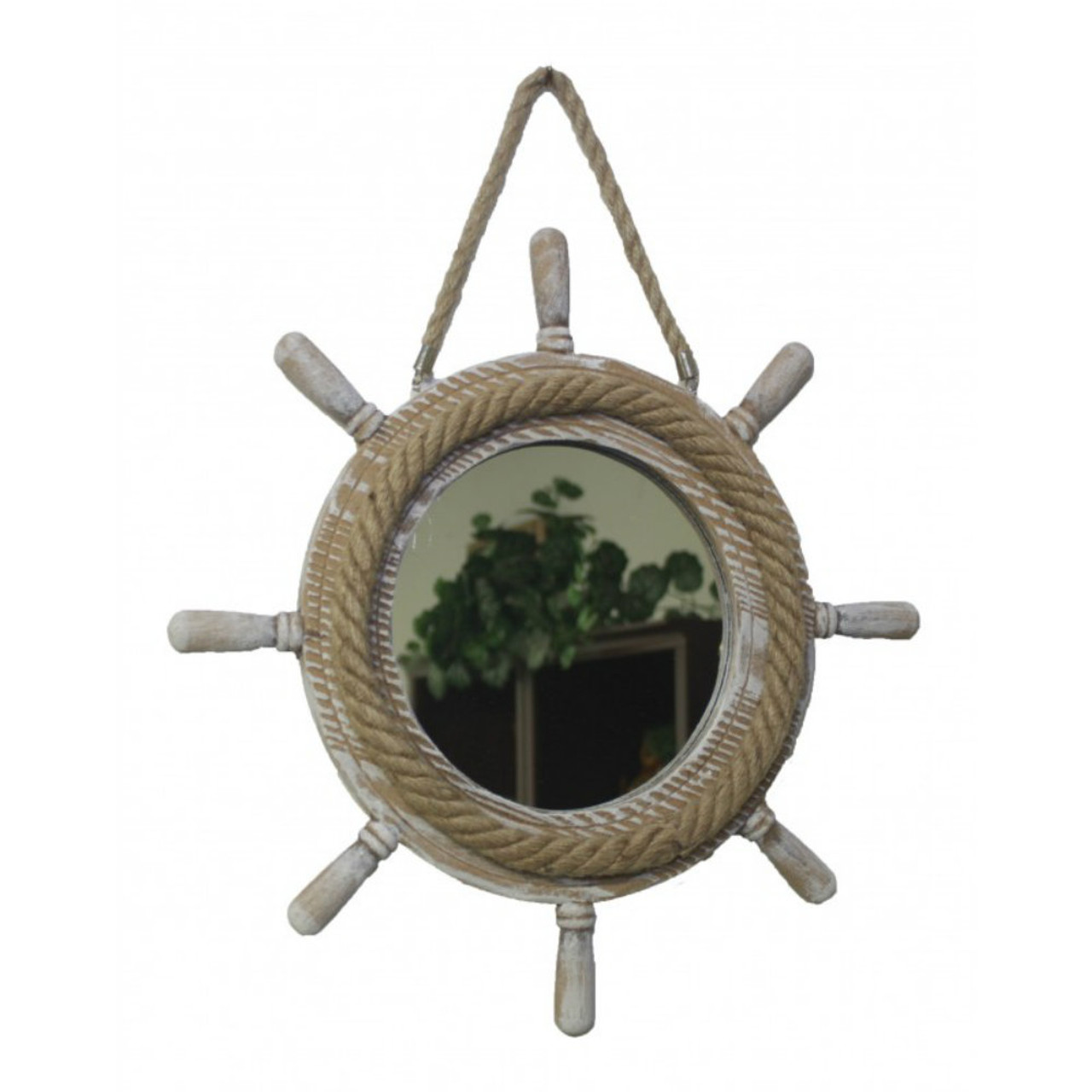 Wooden Ship Wheel Mirror with Rope - 17""
