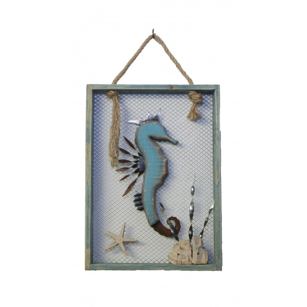 "Wood and Metal Seahorse in Wooden Frame 13.75"" x 10"""