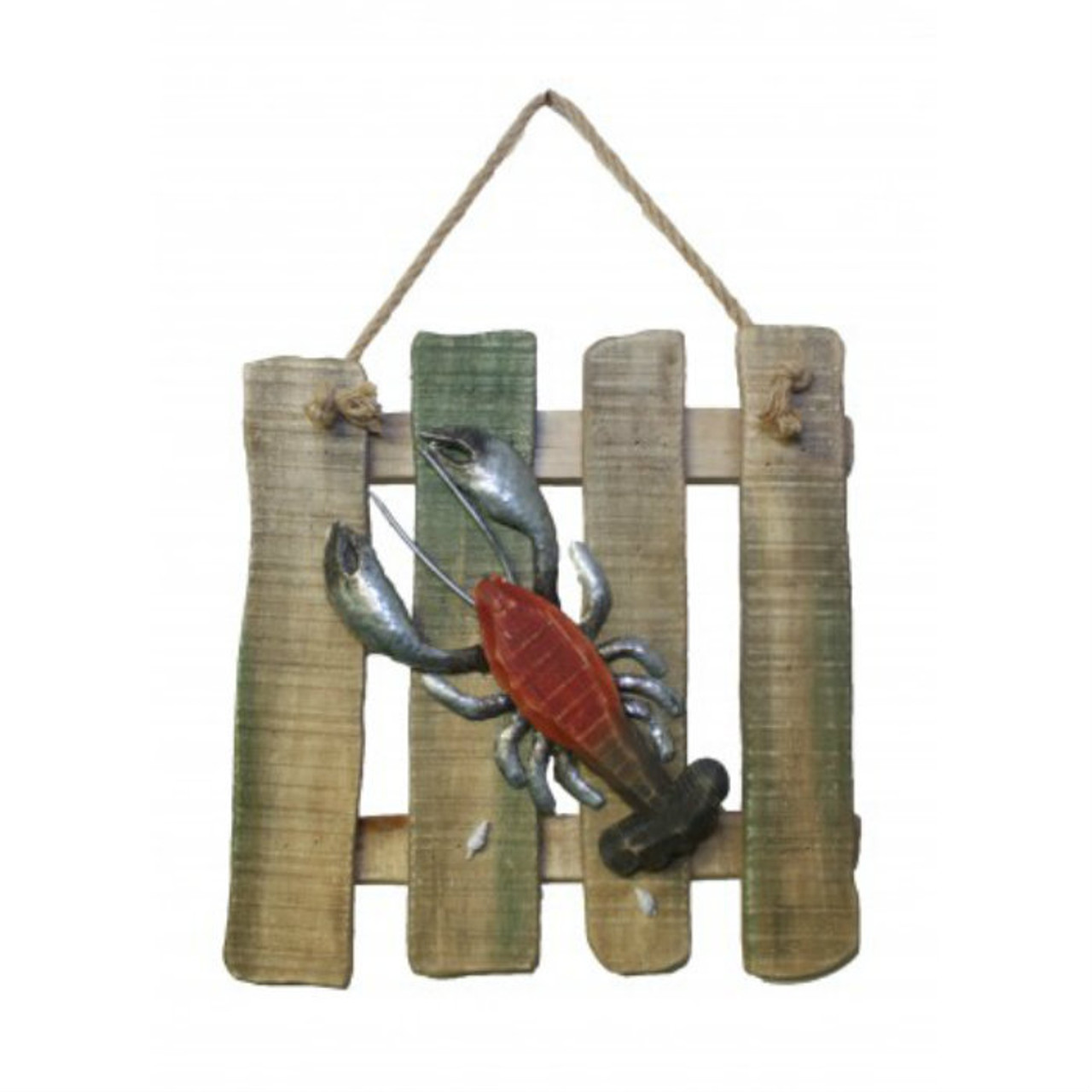 """Wood and Metal Lobster Plaque 14"""" x 14"""""""
