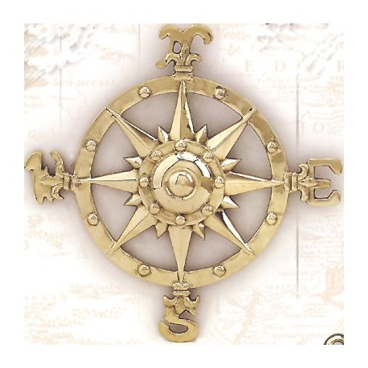 """(BW-616) 8"""" Brass Compass Rose Wall Plaque with Polished Finish"""