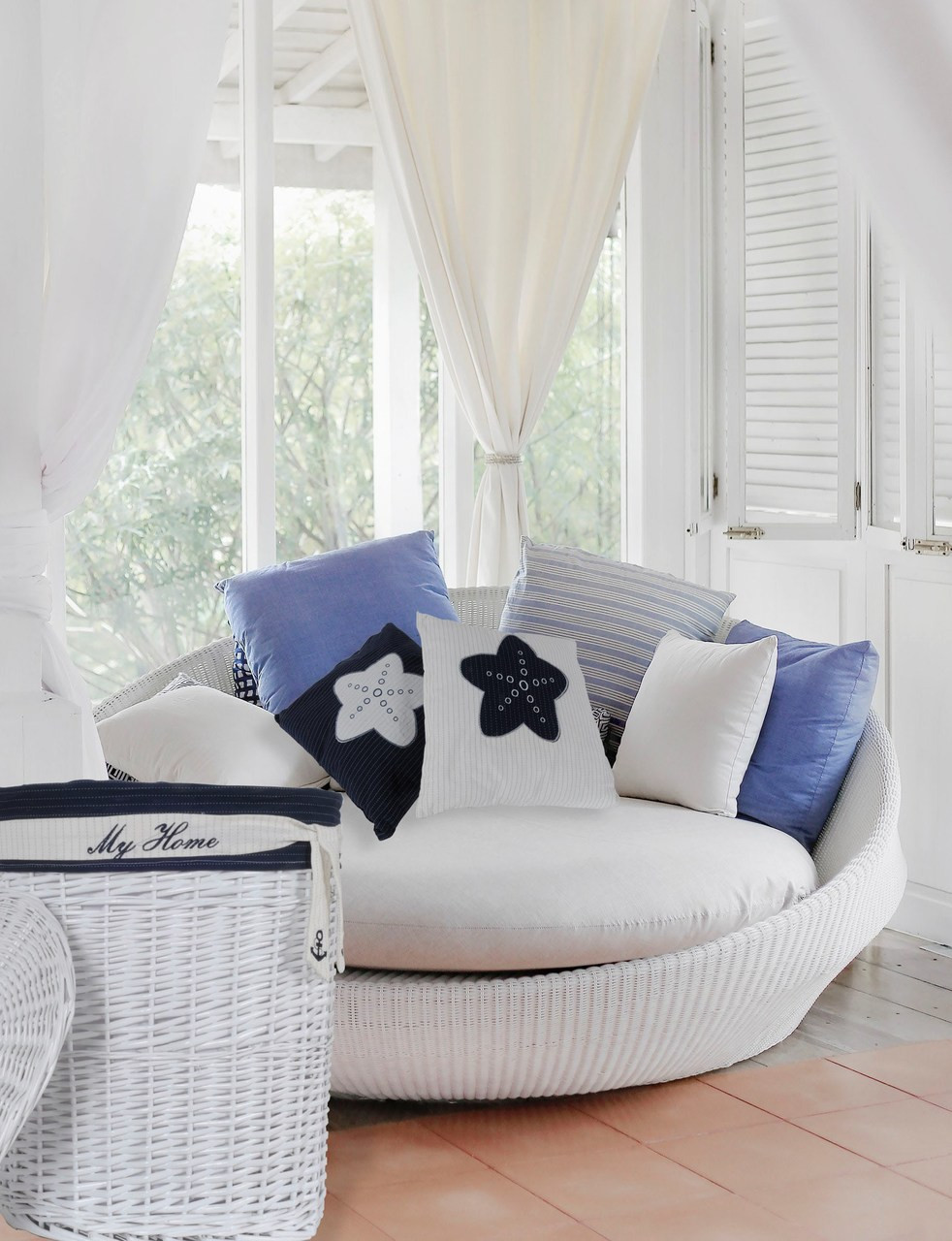 White Pillow with Blue Star