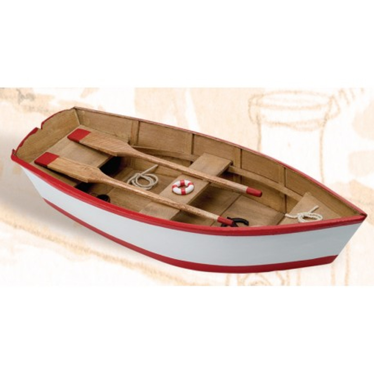 Wooden Boat with Paddles - Red