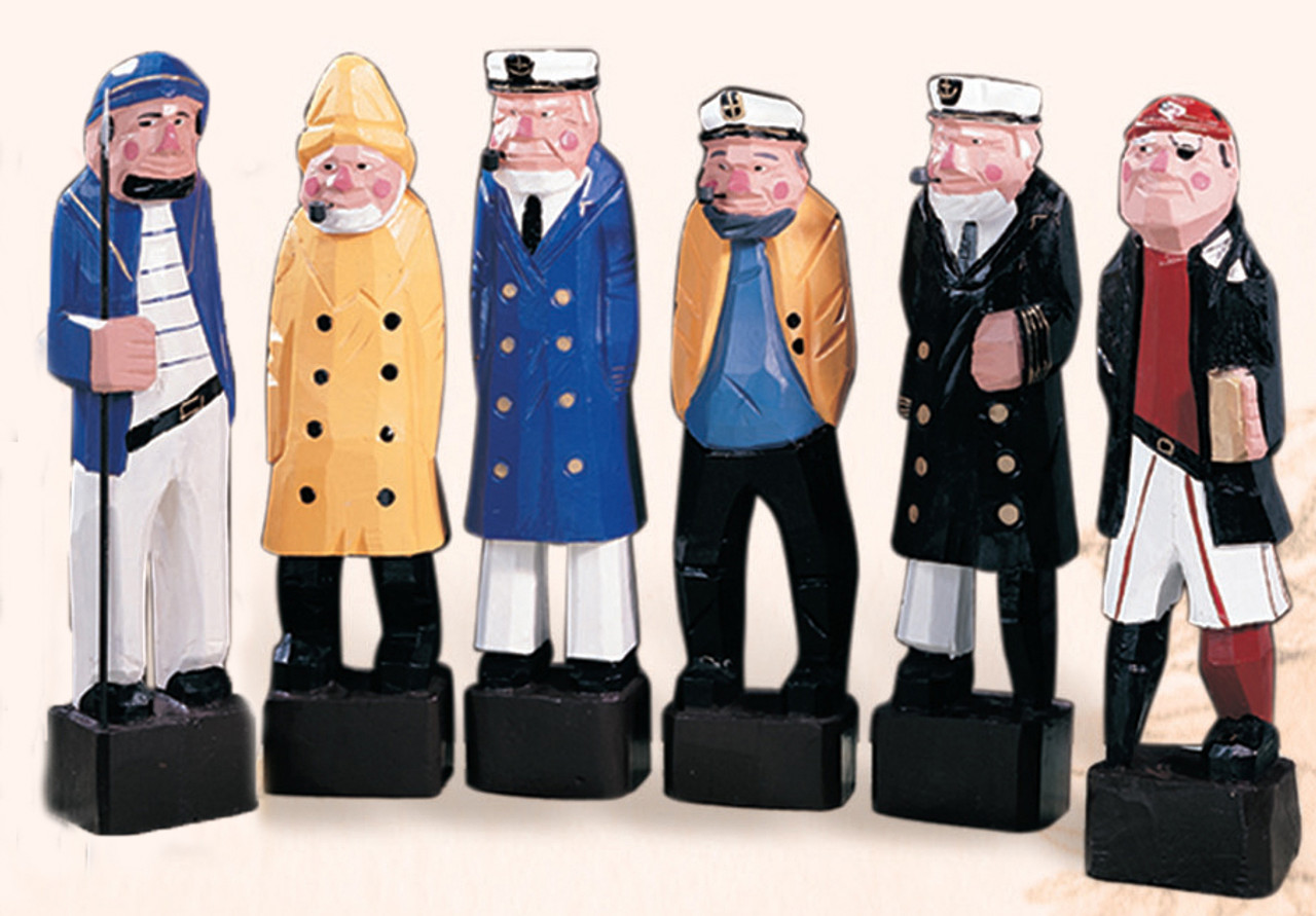 """Colorful Carved Seven Seas Characters - 12"""" Set of 5"""