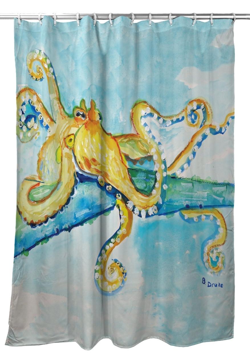 Gold Octopus Shower Curtain