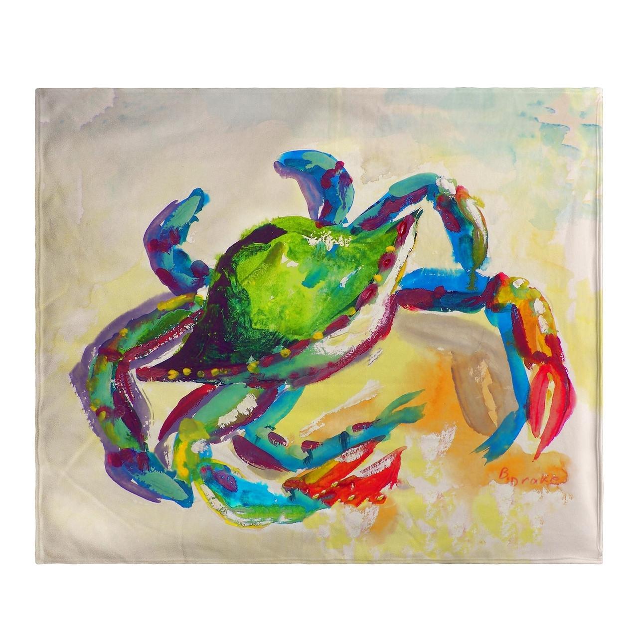 Teal Crab Fleece Throw