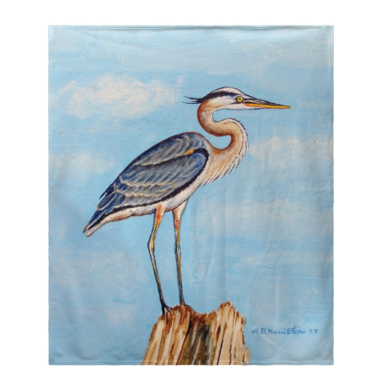 Blue Heron on Stump Fleece Throw