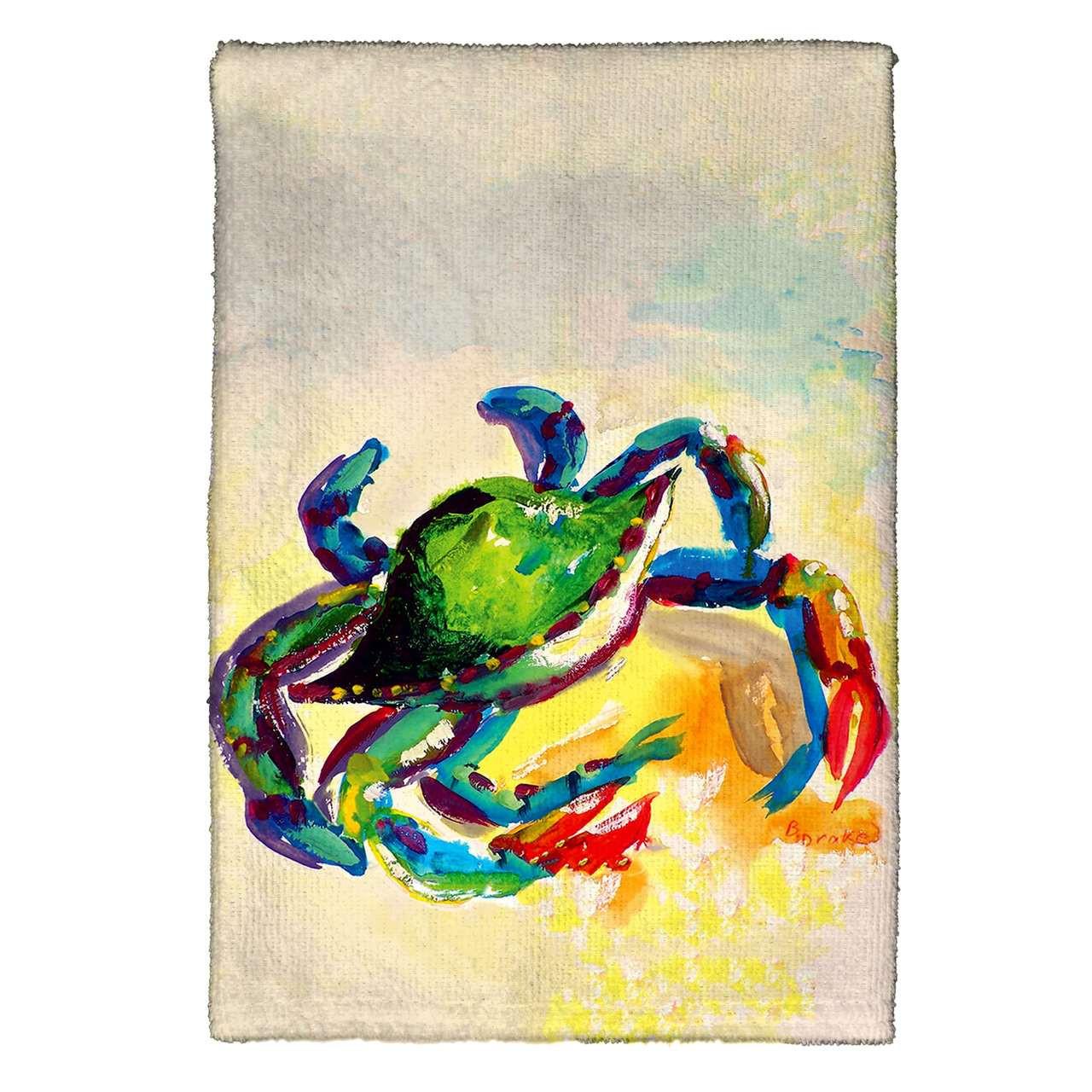 Teal Crab Kitchen Towels - Set of 4