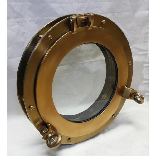 "9/"" Brass Porthole Mirror ~ Nautical Maritime Wall Decor ~ Ship Cabin Window"