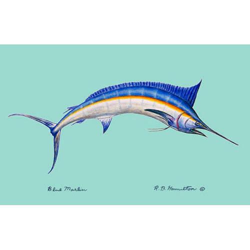 Blue Marlin on Teal Beach Towel