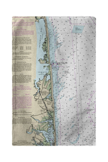 Bethany Beach, DE Nautical Map Beach Towel