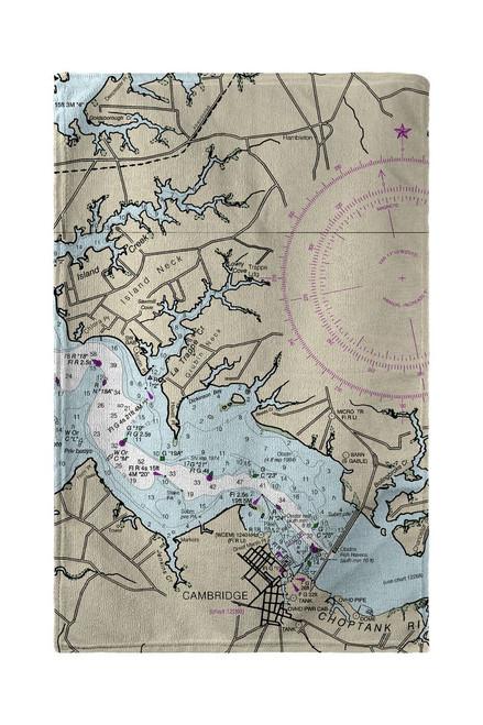 Cambridge, MD Nautical Map Beach Towel
