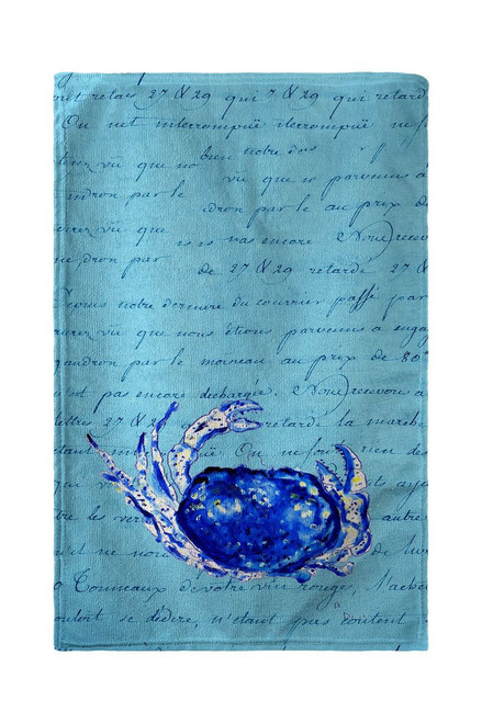 Blue Script Crab Beach Towel