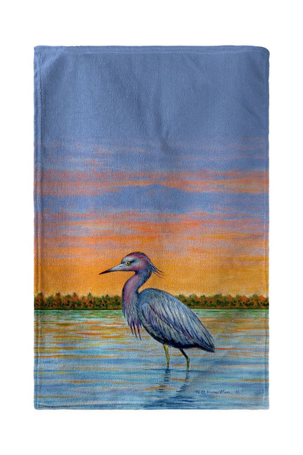 Heron and Sunset Beach Towel