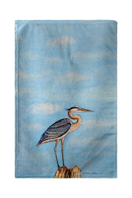 Blue Heron on Stump Beach Towel