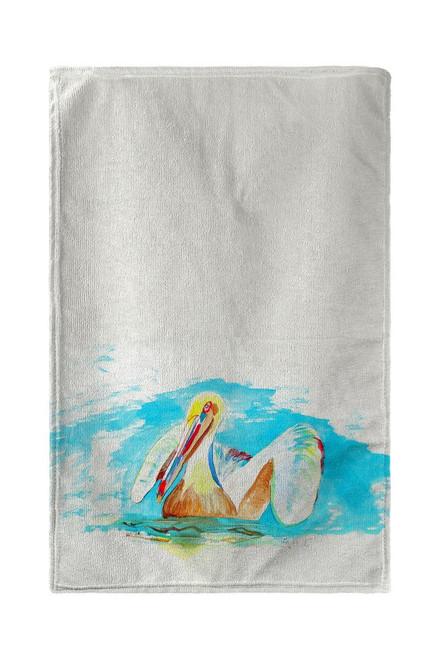 Pelican in Teal Beach Towel