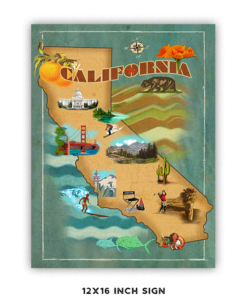 California Map Metal Sign