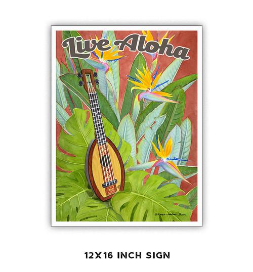 Live Aloha Ukulele  Metal Sign