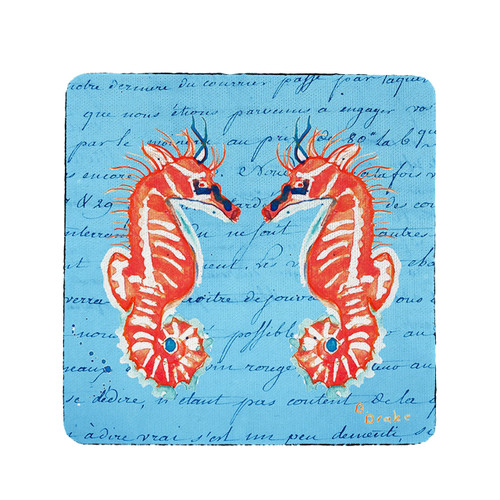 Coral Seahorses Coasters - Set of 4