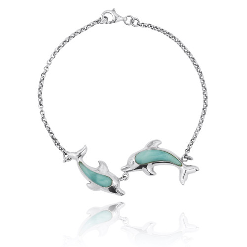 Playing Dolphins with Larimar Bracelet