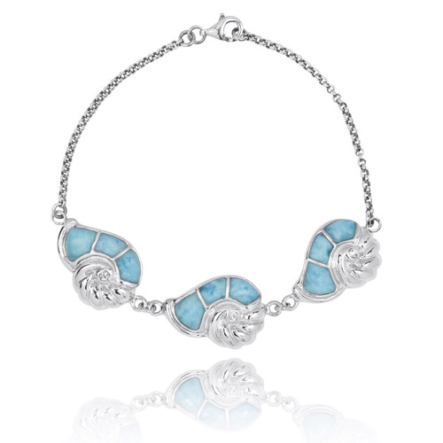 Sterling Silver Seashell with Larimar and Crystal Chain Bracelet