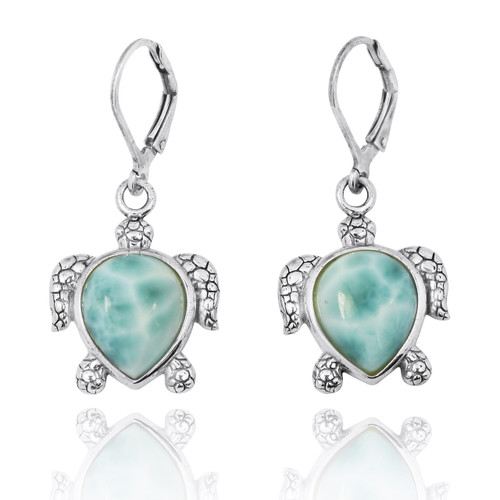 Sterling Silver Turtle Lever Back Earrings with Larimar