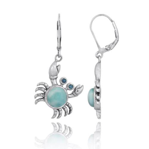 Sterling Silver Crab with Larimar and London Blue Topaz Lever Back Earrings