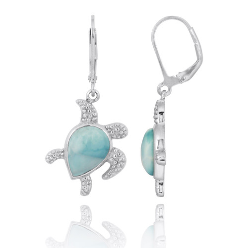 Sterling Silver Turtle with Teardrop Larimar Lobster Clasp Earrings