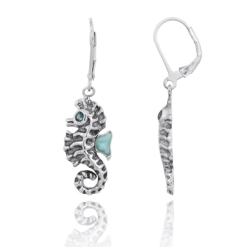 Sterling Silver Seahorse Lobster Clasp Earrings with Larimar and London Blue Topaz