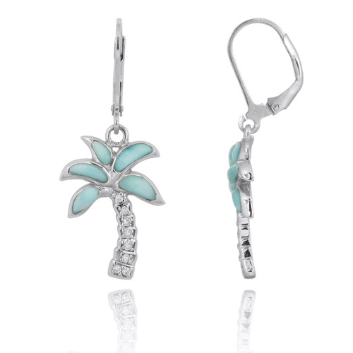 Sterling Silver Palm Tree with Larimar and White CZ Lever Back Earrings