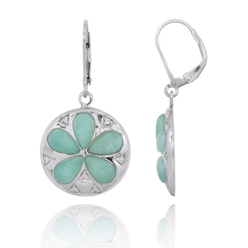 Sand Dollar Lever Back Earrings with Larimar and White CZ