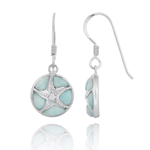 Silver Starfish with Crystal on Larimar French Wire Earrings