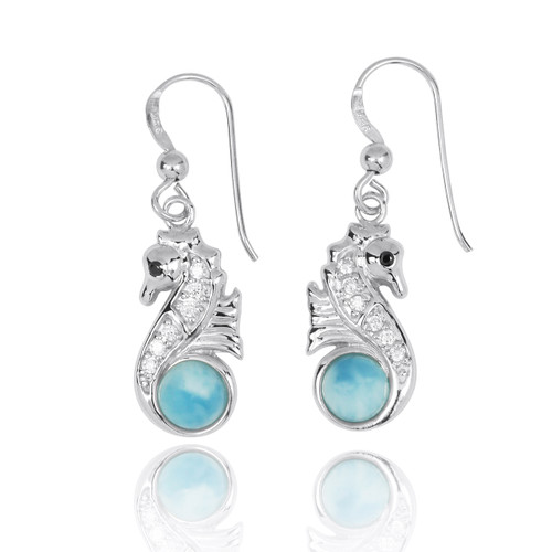 Sterling Silver Seahorse Drop Earrings with Larimar and CZ
