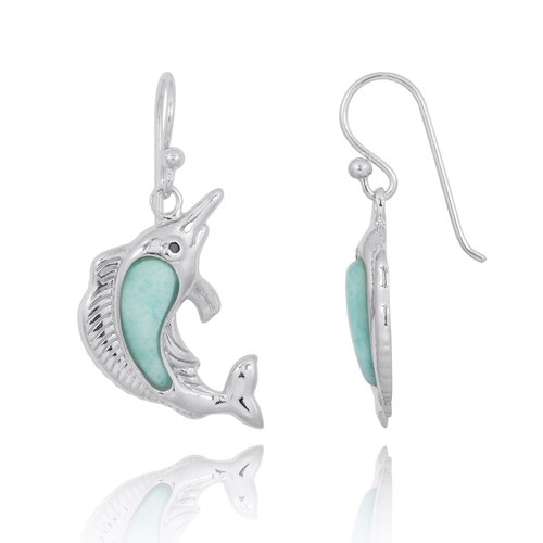 Sterling Silver Swordfish with Larimar and Black CZ French Wire Earrings