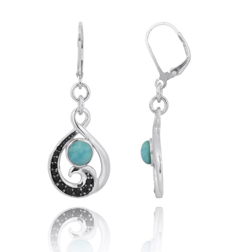 Black Spinel Wave and Round Larimar Sterling Silver Lever Back Earrings