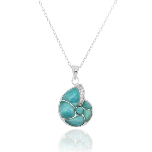 Sterling Silver Seashell Pendant with Larimar and White CZ