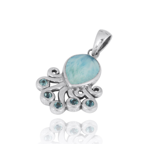 Sterling Silver Octopus Pendant with Larimar and Swiss Blue Topaz