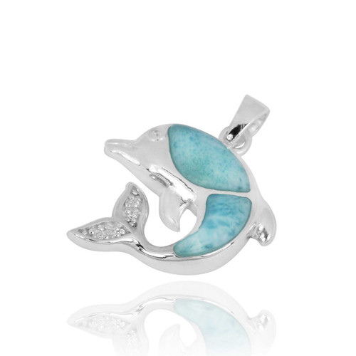 Sterling Silver Dolphin Pendant with Larimar and White CZ
