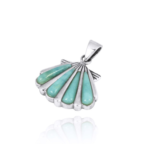 Seashell with Larimar Sterling Silver Pendant
