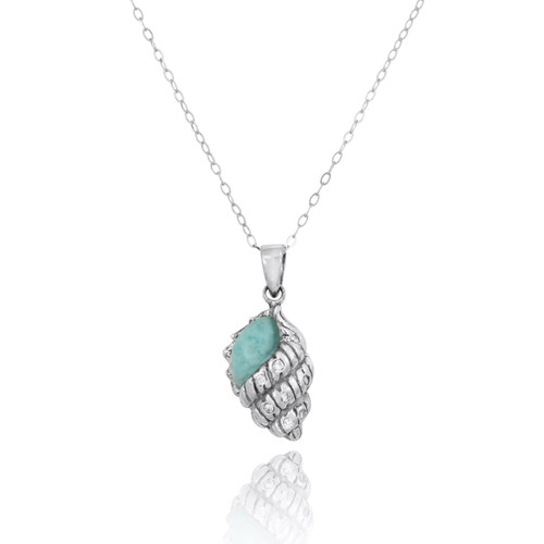 Conch Shell with Larimar and White CZ Sterling Silver Pendant