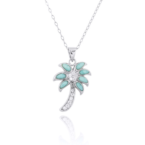 Sterling Silver Palm Tree with Larimar and CZ Pendant