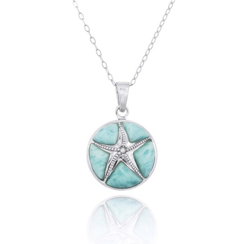 Sterling Silver Starfish with Crystal and Larimar Pendant