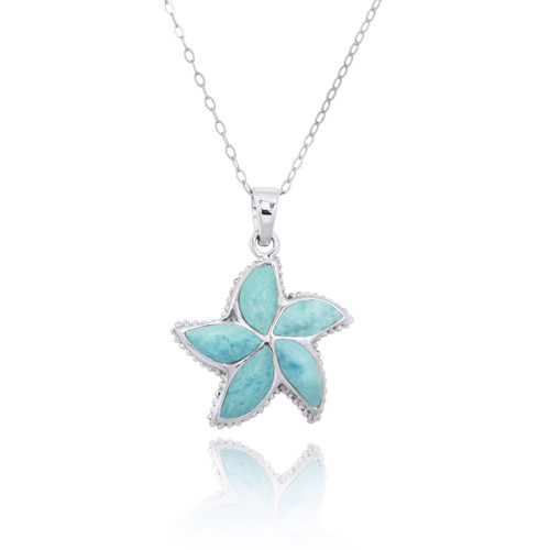 Sterling Silver Starfish with Larimar Pendant