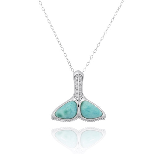 Sterling Silver Whale Tail with Larimar and White CZ Pendant
