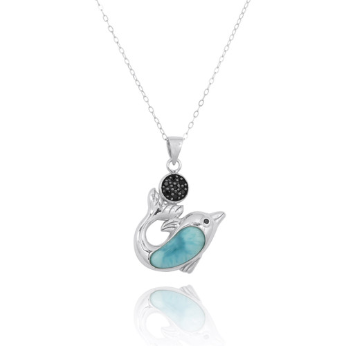 Sterling Silver Dolphin with Larimar and Black Spinel Pendant
