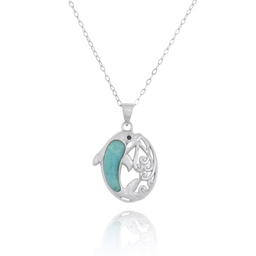 Sterling Silver Dolphin Pendant with Larimar