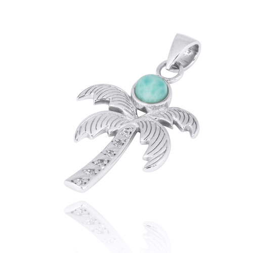 Sterling Silver Palm Tree Pendant with Larimar and White Topaz